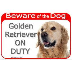 "Red Portal Sign ""Beware of the Dog, Golden Retriever on duty"" 24 cm gate plate notice dog photo"
