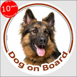"German Shepherd long hair, circle sticker ""Dog on board"" 15 cm, car decal label adhesive dog photo haired"
