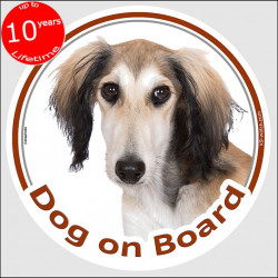"Saluki, circle sticker ""Dog on board"" 15 cm, car decal label adhesive dog photo greyhound persan"