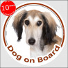 "Saluki, circle sticker ""Dog on board"" 15 cm, car decal label A"