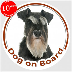 "Schnauzer black and silver, circle sticker ""Dog on board"" 15 cm, car decal label adhesive"