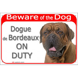 """Red Portal Sign """"Beware of the Dog, black face Dogue de Bordeaux on duty"""" Mastiff gate photo plate notice"""