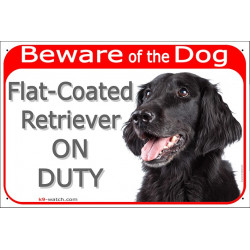 "Red Portal Sign ""Beware of the Dog, black Flat-Coated Retriever on duty"" 24 cm, gate plate notice photo"