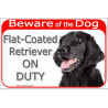 "Red Portal Sign ""Beware of the Dog, Flat-Coated Retriever on duty"" 24 cm"