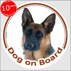 "German Shepherd short hair, circle sticker ""Dog on board"" 15 cm, car decal label adhesive dog photo"