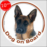 "German Shepherd short hair, circle sticker ""Dog on board"" 15 cm, car decal label A"