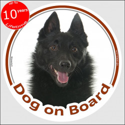 "black Schipperke, circle sticker ""Dog on board"" 15 cm, car decal label adhesive dog photo Spitzke Spitske, Spits"