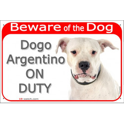 "Red Portal Sign ""Beware of the Dog, Dogo Argentino on duty"" 24 cm, gate plate photo notice Argentine"