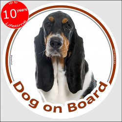 "Tricolour Basset Hound, circle sticker ""Dog on board"" 15 cm, car decal label adhesive photo notice"