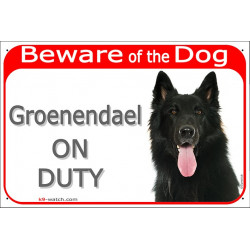 "Red Portal Sign ""Beware of the Dog, Groenendael Belgian Shepherd on duty"" 24 cm, gate plate photo notice, panel placard Belgium"