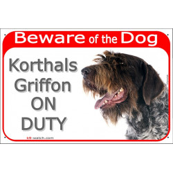 "Red Portal Sign ""Beware of the Dog, Korthals Griffon on duty"" 24 cm, gate plate photo notice panel placard"