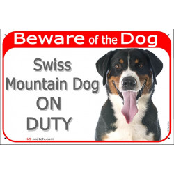 "Red Portal Sign ""Beware of the Dog, Swiss Mountain dog on duty"" 24 cm, gate plate photo notice Sennenhund cattle"