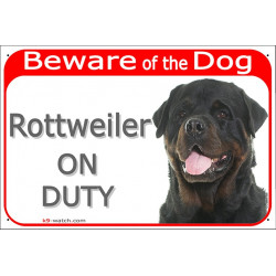 "Red Portal Sign ""Beware of the Dog, Rottweiler on duty"" 24 cm, gate plate photo notice Rottie"
