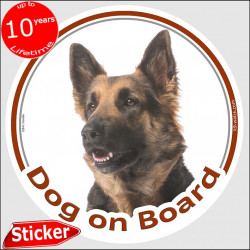"Black and Tan Long hair German Shepherd, circle sticker ""Dog on board"" 15 cm, car decal label adhesive photo notice"