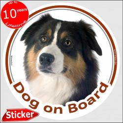 "Black Tricolour Australian Shepherd, circle sticker ""Dog on board"" 15 cm, car decal label aussie photo notice adhesive"