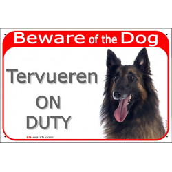 "Red Portal Sign ""Beware of the Dog, Tervueren on duty"" 24 cm, gate plate photo notice Belgian Shepherd"