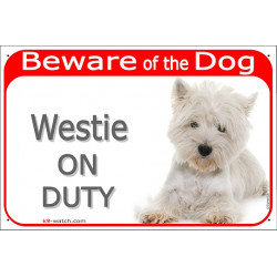 "Red Portal Sign ""Beware of the Dog, Westie on duty"" 24 cm, gate plate photo notice West Highland White Terrier Placard panel"