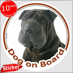 "Black Shar-Peï, circle sticker ""Dog on board"" 15 cm, car decal label adhesive photo notice"