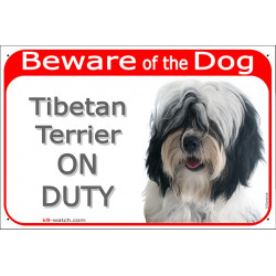 "Red Portal Sign ""Beware of the Dog, Tibetan Terrier on duty"" 24 cm, gate plate black and white long haired Tsang Dokhi Apso"