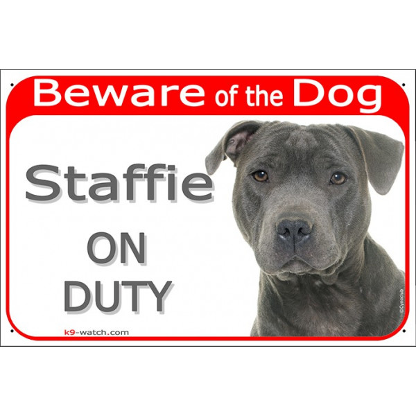 """Portal Sign red """"Beware of the Dog, grey blue Staffie on duty"""" 24 cm, gate plate notice, stafforshire Bull Terrier"""