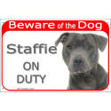 """Portal Sign red """"Beware of the Dog, blue Staffie on duty"""" 24 cm"""