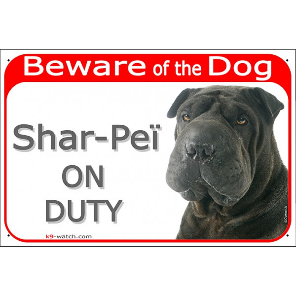 "Red Portal Sign ""Beware of the Dog, black Shar-Peï on duty"" 24 cm, gate plate photo notice"