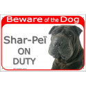 "Red Portal Sign ""Beware of the Dog, black Shar-Peï on duty"" 24 cm"