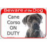 "Red Portal Sign ""Beware of the Dog, Blue Cane Corso on duty"" 24 cm"