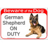"Red Portal Sign ""Beware of the Dog, German Shepherd on duty"" 24 cm"