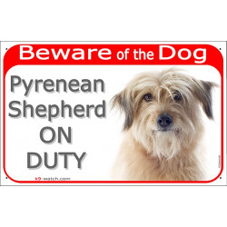 "Red Portal Sign ""Beware of the Dog, fawn Pyrenean Shepherd on duty"" 24 cm"