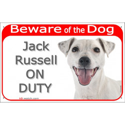 "Red Portal Sign ""Beware of the Dog, smooth white Jack Russell on duty"" 24 cm, gate sign photo notice"