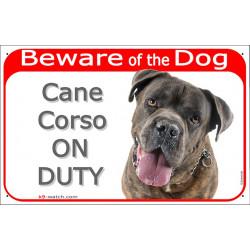 """Red Portal Sign """"Beware of the Dog, Brindle Cane Corso Italiano on duty"""" gate plate photo notice Italiano Mastiff"""