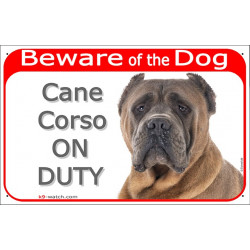 "Red Portal Sign ""Beware of the Dog, Fawn Cane Corso on duty"" 24 cm, gate plate photo notice brown Italiano Mastiff"