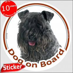 "Irish Kerry Blue Terrier, circle sticker ""Dog on board"" 15 cm, car decal label adhesive photo notice"