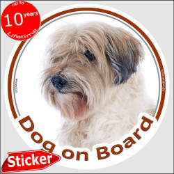 "Golden & white Tibetan Terrier, circle sticker ""Dog on board"" 15 cm, short-haired decal adhesive notice photo label"
