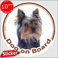 "Circle sticker ""Dog on board"" 15 cm, Yorkshire Terrier Head, decal adhesive car label photo york yorkie"