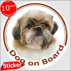 "Circle sticker ""Dog on board"" 15 cm, red & white Shih Tzu Head, decal adhesive car label"
