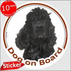 "Black American Cocker Spaniel, car circle sticker ""Dog on board"" 15 cm, decal adhesive photo notice"