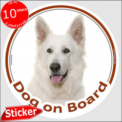 "White German Shepherd, car circle sticker ""Dog on board"" 15 cm, decal adhesive notice label American Canadian"