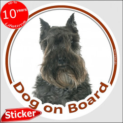 "Schnauzer black, car circle sticker ""Dog on board"" 15 cm, car decal label adhesive photo notice"