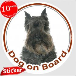 "Schnauzer black, car circle sticker ""Dog on board"" 15 cm, car decal label adhesive photo notice"