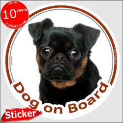 "Petit Brabançon Griffon black and Tan, circle car sticker ""Dog on board"" 15 cm, photo notice decal label"
