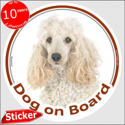 "Circle sticker ""Dog on board"" 15 cm, White Poodle Head, decal adhesive car label photo notice"