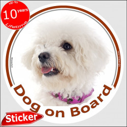 "Circle sticker ""Dog on board"" 15 cm, Curly Bichon Frise Head, decal adhesive car label Tenerife photo notice"