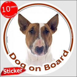 "Circle sticker ""Dog on board"" 15 cm, Fawn and white English Bull Terrier British red photo notice decal label"