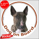 """Circle sticker """"Dog on board"""" 15 cm, Brindle English Bull Terrier British photo notice decal label"""