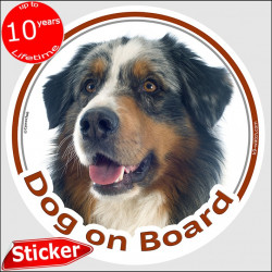 "Blue merle Aussie, circle car sticker ""Dog on board"" 15 cm Australian Shepherd Sheepdog decal label photo notice"