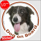 """Brown Border Collie, circle car sticker """"Dog on board"""" 15 cm decal label photo notice adhesive"""