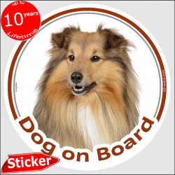 "tri-sable & white Rough Collie, circle sticker ""Dog on board"" 15 cm, car decal label photo adhesive notice"
