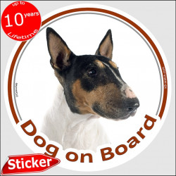 "Tricolor English Bull Terrier, car circle sticker ""Dog on board"" 15 cm British Tricolour decal label adhesive photo notice"